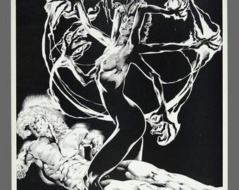 "1986 Craig Hamilton Rick Bryant ""Oracle"" Print Plate Black & White Art 11 x 14"