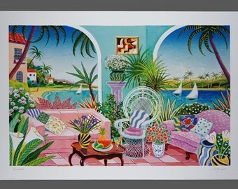 "1993 Shelby Taylor ""Verandah"" Lithograph Print Art Poster Large Size 24 x 36"