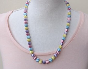Cheerful necklace, summer necklace, resin necklace, colourful necklace, striped necklace, fun jewellery