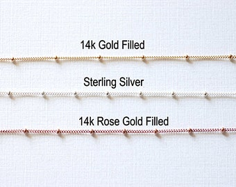 Pay by Foot 14K Gold Filled, 14k Rose Gold Filled or Sterling Silver Satellite Curb Ball Beaded Chain, Wholesale Satellite Gold Filled Chain