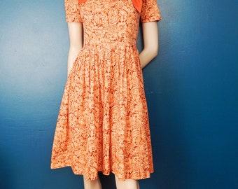 Vintage 1950's Day Dress   Rust Colored   Floral Garden Dress   Size Medium
