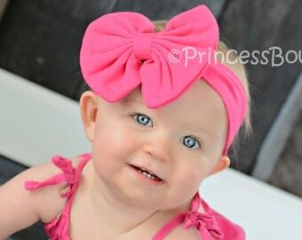 Hot Pink Infant Headband, Big Bow Knit Band, Shocking Hot Pink Headband For Babies and Toddlers, Soft Newborn Headband, Baby First Headband