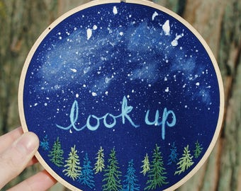 """Mixed media, """"look up"""" - 6"""" embroidery hoop art - evergreen trees, nature landscape, splatter stars, acrylic paint, hand stitched, night sky"""