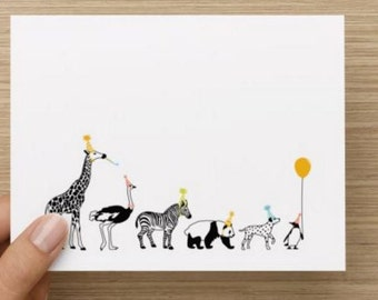 Thank you card: Personally designed party thank you card with party animals! Multiple pack sizes available.