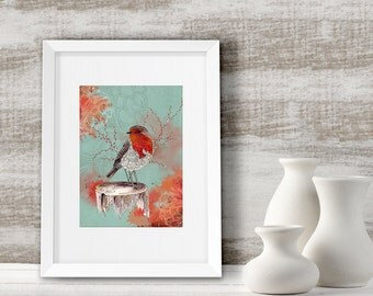 Gift for couples, Robin bird art print home decor, Watercolor painting, framed & ready to hang