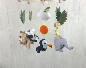 Baby mobile - jungle mobile - safari baby mobile - elephant giraffe zebra lion and toucan mobile - crib mobile