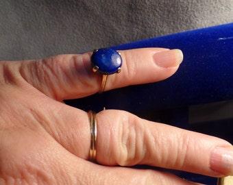 Size 6 1/4 Ring 10K Gold-Lapis- Marked 10K