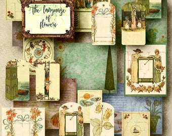 Vintage Flower  Digital Journal Kit  DIY Journal  Printable journal pages  junk journal vintage  ephemera pack  journal cards  floral