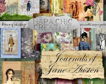 SALE  JANE AUSTEN printable  Printable Journal paper  Digital Journal Kits  Jane Austen Quotes  Printable  Junk Journal Kit  Ephemera Pack