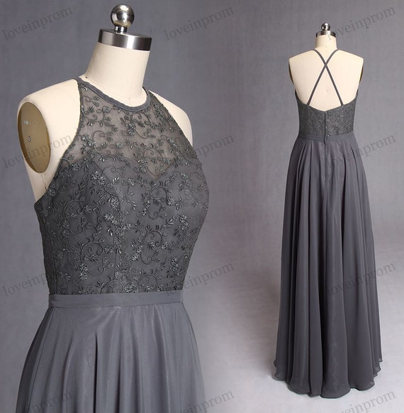 Dark grey embroidery bridesmaid dresses long lace by for Dark grey wedding dresses