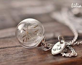 Wish necklace Dandelion necklace Good luck necklace Make a wish necklace Terrarium necklace Dandelion jewelry Dandelion pendant Holiday gift