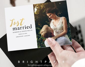 Just married announcement – Etsy