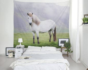 White Horse Print, Wall Tapestry, Icelandic Horse, Animal Tapestries, Large Wall Art, Nature Decor, Iceland Photo
