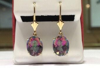 5.00 Carat Rainbow Topaz Dangle Earrings in 14K Yellow Gold