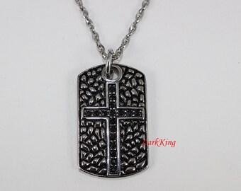 Cross necklace, stainless steel, cross pendant necklace, baptism necklace, baptism cross, catholic necklace, catholic cross, NE5031