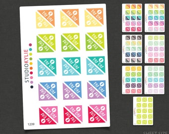 Pay Day Stickers - Corner Stickers - Repositionable Matte Vinyl to suit all planners