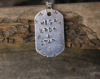 Custom Star Stamped Necklace/ Stamped Jewelry/ Metal Stamped Jewelry/ Metal Stamped Necklace/ Wish Upon A Star Necklace/ Star Jewelry/ Wish