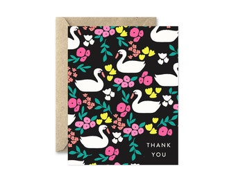 Thank You Swans - Greeting Card