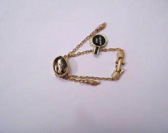 "Vintage Adjustable Glide Bracelet Love Sentiments ""I Miss You"" Gold Tone Tassel Romantic Romance New Old Stock"