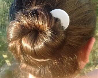 Moon hair clip, bride barrette, white bridal barrete, crescent moon, hair accessories, bride hair accessories, wedding hair accesories