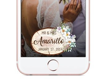 Custom Snapchat Geofilter, WEDDING Snapchat Filter, Wood Slice Bouquet Geofilter