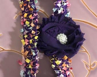 Party Headband, Newborn Headband, 14 Inch Headband, Purple Headband, Baby Gift, Baby Girl, Baby Shower Gift, Confetti Headband, Photo Prop