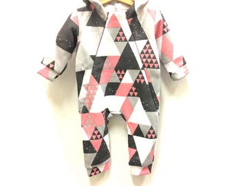 Girls sweatsuit grey rosa white triangles, hooded sweatsuit, cotton fleece sweatsuit, spring overall, babygirl sweatsuit