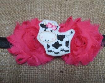 Cow Headband, Moo Cow Headband, Pink Flower Headband, Farm Animal Headband