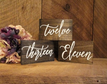 Wedding table numbers, rustic table numbers, wood table numbers, custom table numbers, word table numbers, rustic number, wedding number