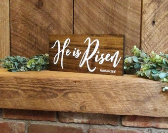 He is Risen sign, Easter sign, Easter wall decor, Easter decoration, Easter home decor, Easter Bible verse sign, Bible verse sign, wood sign