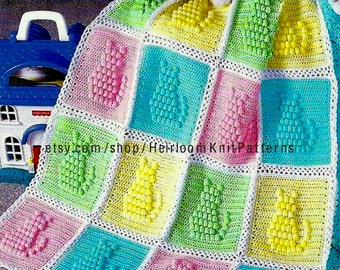 Baby Cat Afghan Blanket Crochet Pattern Popcorn Stitch Afghan Crochet Pattern PDF Instant download - 841