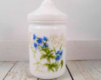 Milk Glass Jar,France,floral design,wildflowers,white,glass,apothecary jar,lidded container,vintage,home decor,bathroom,shabby chic decor
