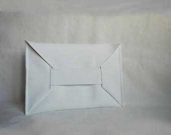 Japanese Envelope Purse,White Elegant Clutch,Women's Handbag,White Faux Leather Clutch,Vegan bag,Perfect Gift,Daywear,ATTITUDE157 Bag,Tote