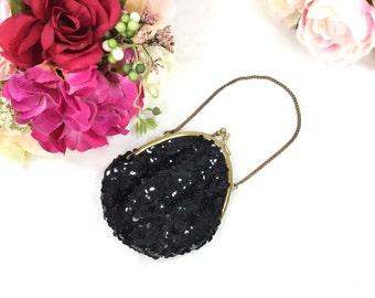 Vintage Black Sequence Evening Bag, Black Sequence Clutch, Black Sequence Hand Bag, Black Sequence Purse, Vintage Hand Bag #A708