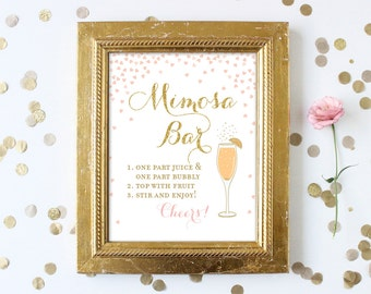 Bridal Shower Mimosa Bar Sign Printable 8x10 . Blush Pink and Gold Glitter Bridal Shower Signs . Bubbly Bar Bridal or Wedding Sign Printable