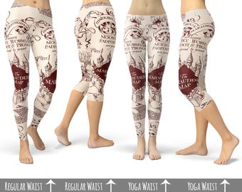 Marauder's Map Harry Potter - Capri or Full Length, Sports | Yoga | Fleece Leggings in XS-3XL 000938