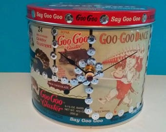 Repurposed Goo Goo Candy Tin Box Clock, Recycled, Upcycled, Handmade Clock, Goo Goo For Candy, Functional Art, Candy Tin Clock.