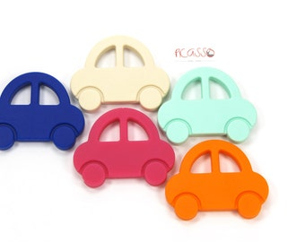 CAR teether, food silicone, mint, fuchsia, beige, orange or royal, Chew toy, Shower gift, Chewing pendant, Breastfeeding, Christmas Gift