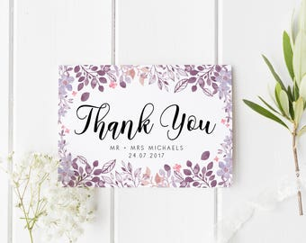 Floral Thank You Wedding, Personalised Wedding Card, Custom Mr & Mrs Wedding Card, From The New Mr And Mrs, Flower Wedding Thank You Card