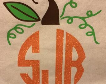 Monogrammed Pumpkin Tote Bag, Monogrammed Tote Bag, Fall Tote Bag, Halloween Bag, Trick or Treat Bag, Monogrammed Market Bag, Monogram Bag