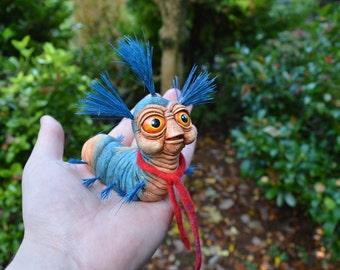 Froud Inspired Labyrinth Worm Original Creature art sculpture by Junkpunk