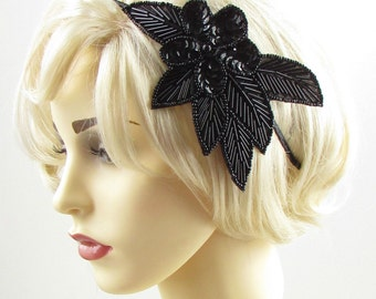 Black Sequin Beaded Headband Fascinator Vintage 1920s Great Gatsby Flapper 601