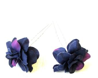 2x Deep Dark Purple Rose Flower Hair Pins Pastel Goth Bridesmaid Clip Vtg 1325