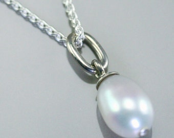 Pearl necklace, white pearl necklace, pearl pendant, cultured pearl pendant, pearl jewelry, sterling silver and fresh water pearl