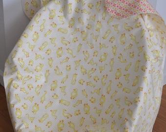 Cute Receiving Blanket, Yellow Geese, Easter Baby gift, Flannel Crib Blanket, Gender Friendly Reversible Throw, Snuggle Blanket.