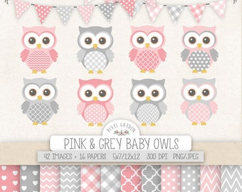 Pink & Gray Owl Clipart. Nursery, Baby Shower Clipart. Baby Girl Digital Paper in Chevron, Polka Dot, Gingham. Pink, Grey Baby Owls, Banners