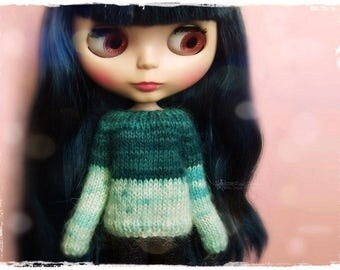BLYTHE Sweater, Jumper, Pure Neemo, Licca, Takara, Pullip, Dal - Knitted Multicolor Turquoise Sweater #66