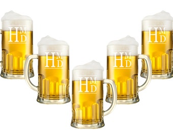 Personalized Beer Mugs - 12oz, Monogram Glasses,  Etched Glasses, Custom Engraved Beer Glasses, Beer Stein, Groomsman, Wedding Party Favor