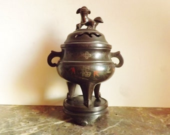 old chinese Bronze fragance and incense tripod on stand  with lid to dog Fô. China late nineteenth early century