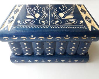 New mystery jewelry box hidden key drawer wooden magic surprise box puzzle box big blue secret box tricky trinket box handcarved storage box